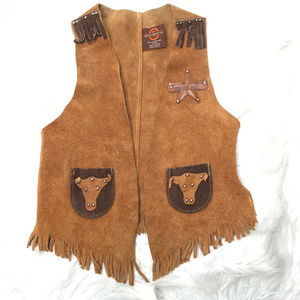 John R Craighead Kids Leather Western Cowboy Vest